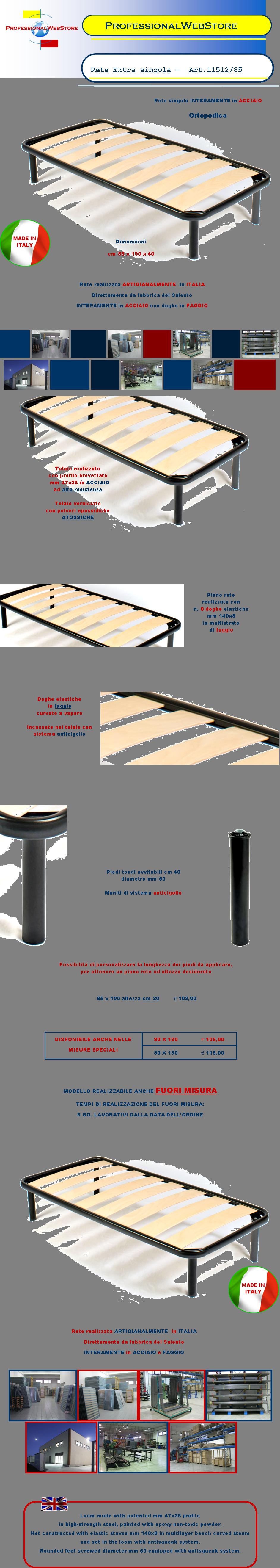 Letto singolo fuori misura reti su misura letti misure - Reti letto su misura ...